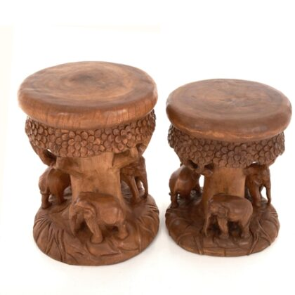 Forest Stool / Table with 3 Elephants - Medium