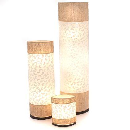 Oval Eye Sandel Wood and Sabit Shell Floor Lamp - 150cm