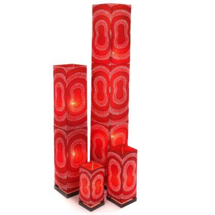 Red Square Dot Motif Floor Lamp - 100cm