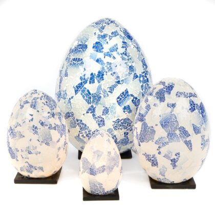 Mosaic Egg Lamp 20cm - Blue/Grey