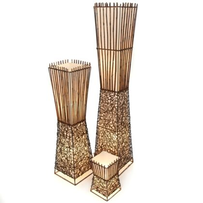 Square Half Rattan Half Bamboo Floor Lamp - 100cm