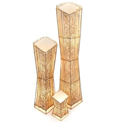 Square V Cut Top Rattan & Bamboo Floor Lamp - 150cm