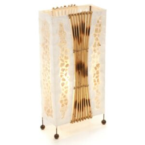 Aquarium gold shell rattan table lamp – 50cm