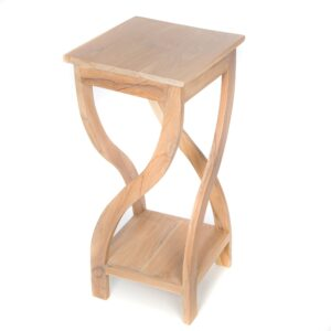 Tall Twisted Teak Table – White Wash