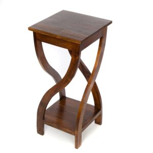 Tall Twisted Teak Table – Dark