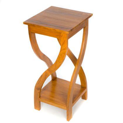 Light Tall Twisted Teak Table