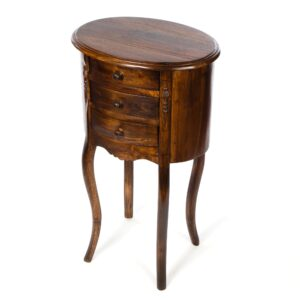 Tall Three Drawer Teak Table – Dark