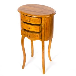 Tall Three Drawer Teak Table - Light